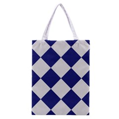 Harlequin Diamond Argyle Sports Team Colors Navy Blue Silver Classic Tote Bag by CrypticFragmentsColors