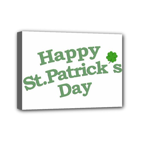 Happy St Patricks Text With Clover Graphic Mini Canvas 7  X 5  (framed) by dflcprints