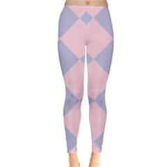 Harlequin Diamond Argyle Pastel Pink Blue Leggings
