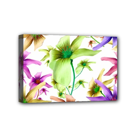 Multicolored Floral Print Pattern Mini Canvas 6  X 4  (framed) by dflcprints