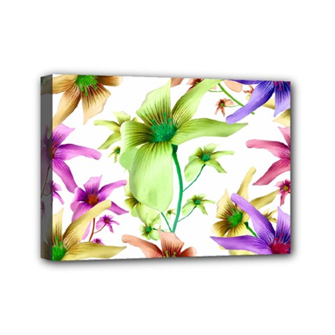 Multicolored Floral Print Pattern Mini Canvas 7  X 5  (framed) by dflcprints