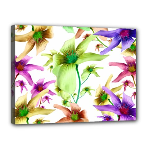 Multicolored Floral Print Pattern Canvas 16  X 12  (framed) by dflcprints