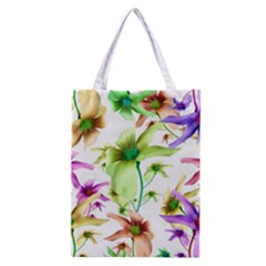 Multicolored Floral Print Pattern Classic Tote Bag by dflcprints