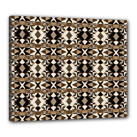 Geometric Tribal Style Pattern In Brown Colors Scarf Canvas 24  X 20  (framed) by dflcprints