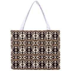 Geometric Tribal Style Pattern In Brown Colors Scarf Tiny Tote Bag by dflcprints