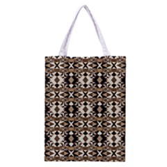 Geometric Tribal Style Pattern In Brown Colors Scarf Classic Tote Bag by dflcprints