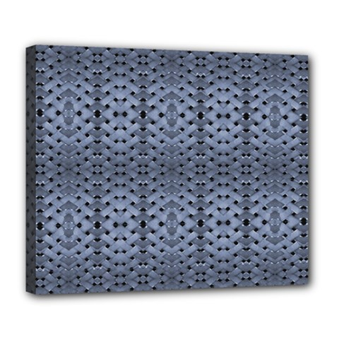 Futuristic Geometric Pattern Design Print in Blue Tones Deluxe Canvas 24  x 20  (Framed) by dflcprints