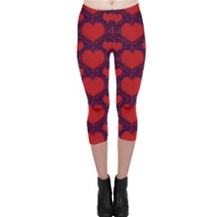 Galaxy Hearts Grunge Style Pattern Capri Leggings  by dflcprintsclothing