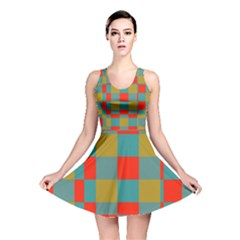 Squares in retro colors Reversible Skater Dress by LalyLauraFLM