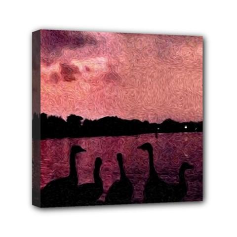 7 Geese At Sunset Mini Canvas 6  X 6  (framed) by bloomingvinedesign