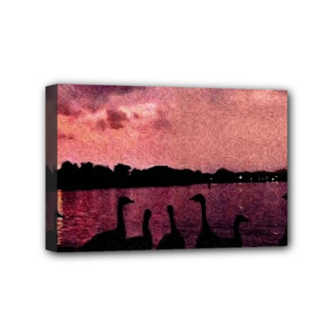 7 Geese At Sunset Mini Canvas 6  X 4  (framed) by bloomingvinedesign