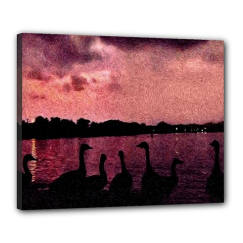7 Geese At Sunset Canvas 20  X 16  (framed) by bloomingvinedesign
