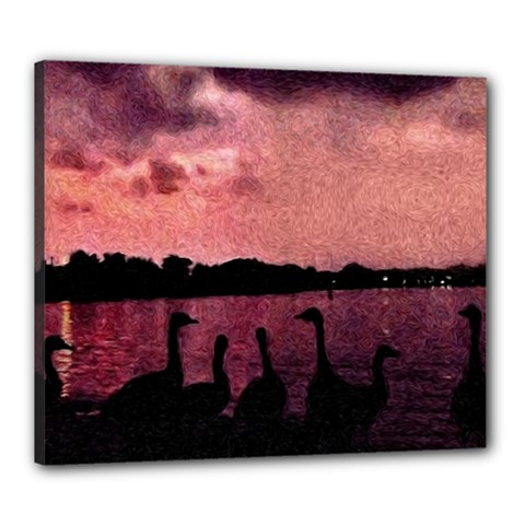 7 Geese At Sunset Canvas 24  X 20  (framed) by bloomingvinedesign