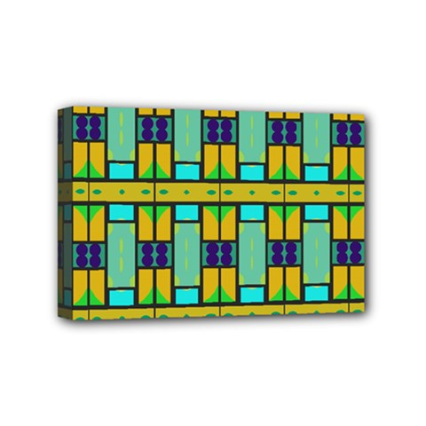 Different shapes pattern Mini Canvas 6  x 4  (Stretched) by LalyLauraFLM