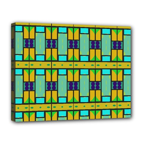 Different Shapes Pattern Canvas 14  X 11  (stretched) by LalyLauraFLM
