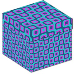 Blue Purple Squares Pattern Storage Stool