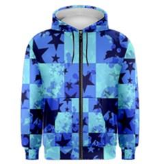 Blue Star Checkers Men s Zipper Hoodie by ArtistRoseanneJones