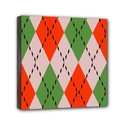 Argyle Pattern Abstract Design Mini Canvas 6  X 6  (stretched) by LalyLauraFLM