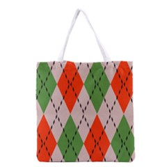 Argyle Pattern Abstract Design Grocery Tote Bag by LalyLauraFLM