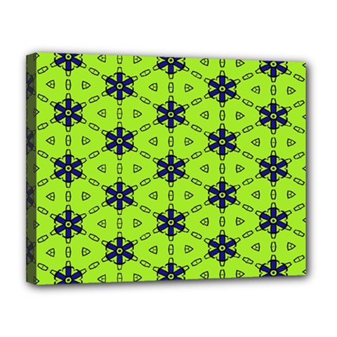 Blue Flowers Pattern Canvas 14  X 11  (stretched) by LalyLauraFLM