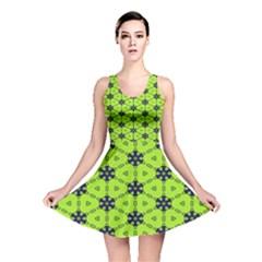 Blue Flowers Pattern Reversible Skater Dress by LalyLauraFLM