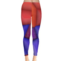 3d Colorful Shapes Leggings  by LalyLauraFLM