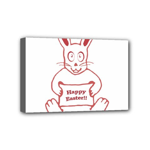 Cute Bunny With Banner Drawing Mini Canvas 6  X 4  (framed) by dflcprints