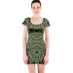 Luxury Abstract Golden Grunge Art Short Sleeve Bodycon Dress by dflcprintsclothing