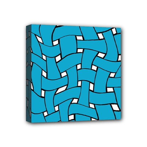 Blue Distorted Weave Mini Canvas 4  X 4  (stretched) by LalyLauraFLM