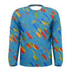 Colorful Shapes On A Blue Background Men  Long Sleeve T Shirt by LalyLauraFLM