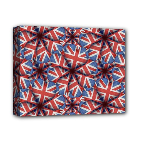 Heart Shaped England Flag Pattern Design Deluxe Canvas 14  X 11  (framed) by dflcprints
