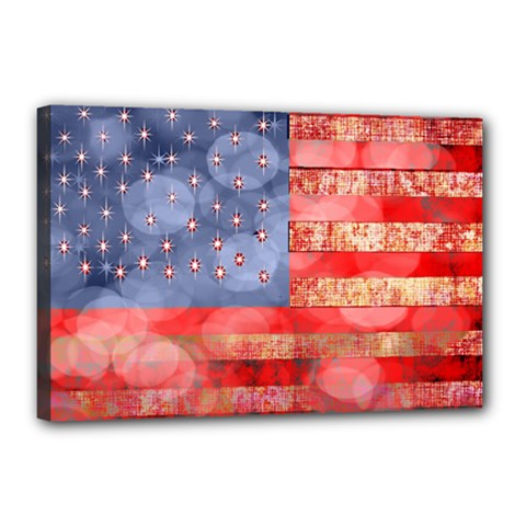 Distressed American Flag Canvas 18  X 12  (framed) by bloomingvinedesign