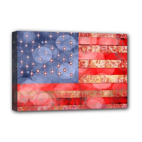 Distressed American Flag Deluxe Canvas 18  x 12  (Framed) by bloomingvinedesign