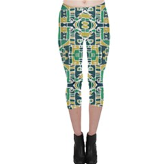 Colorful Tribal Abstract Pattern Capri Leggings