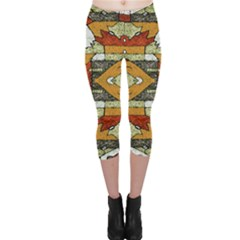 Multicolored Abstract Tribal Print Capri Leggings  by dflcprintsclothing