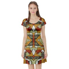 Multicolored Abstract Tribal Print Short Sleeved Skater Dress by dflcprintsclothing