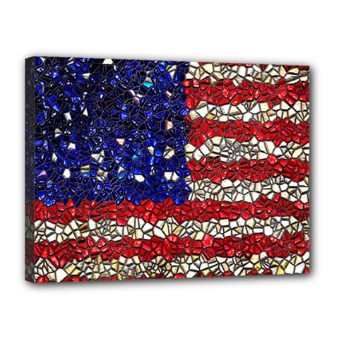 American Flag Mosaic Canvas 16  X 12  (framed) by bloomingvinedesign