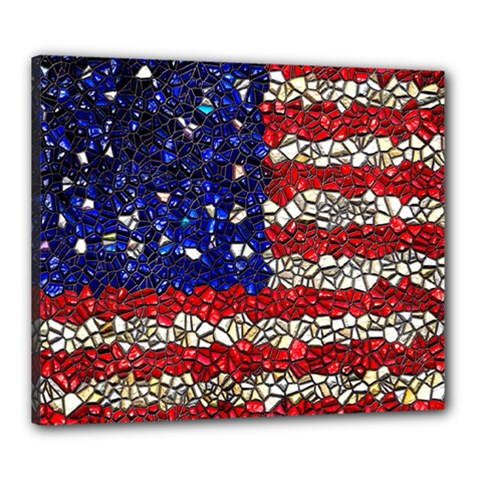 American Flag Mosaic Canvas 24  X 20  (framed) by bloomingvinedesign