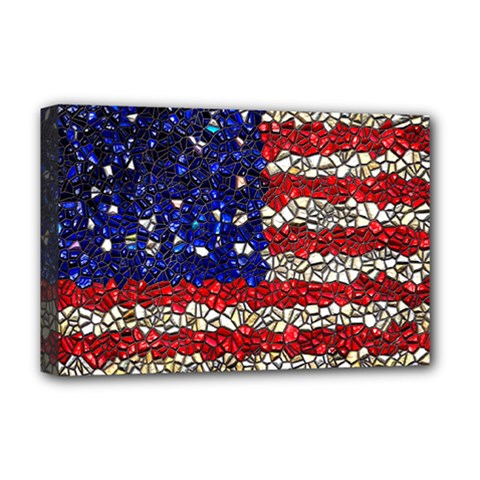 American Flag Mosaic Deluxe Canvas 18  X 12  (framed) by bloomingvinedesign