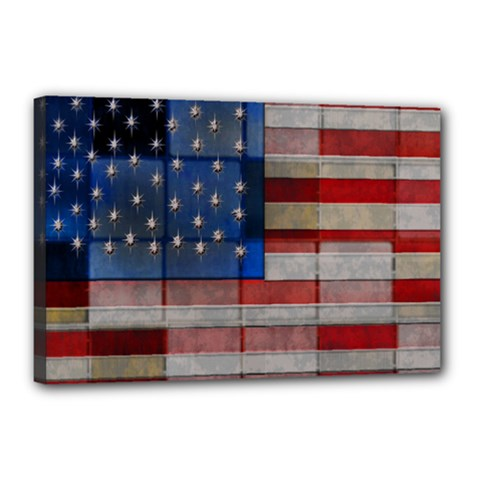 American Flag Quilt Canvas 18  X 12  (framed) by bloomingvinedesign
