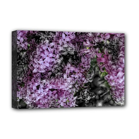 Lilacs Fade To Black And White Deluxe Canvas 18  X 12  (framed) by bloomingvinedesign