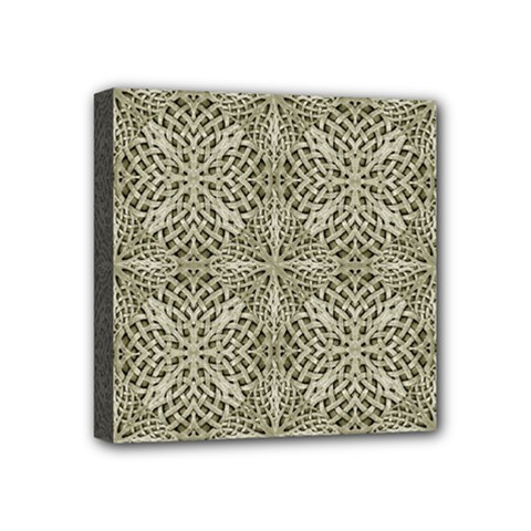 Silver Intricate Arabesque Pattern Mini Canvas 4  X 4  (framed) by dflcprints