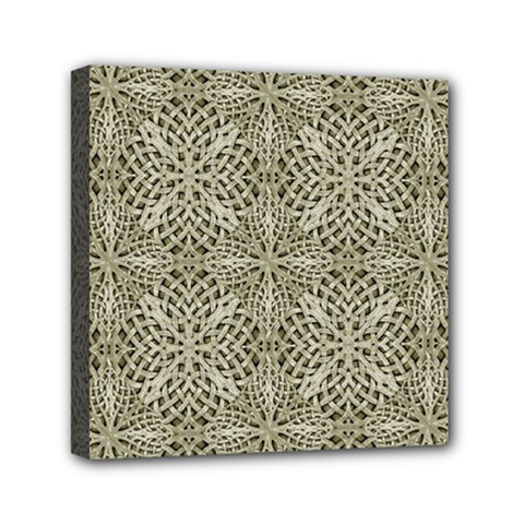 Silver Intricate Arabesque Pattern Mini Canvas 6  X 6  (framed) by dflcprints