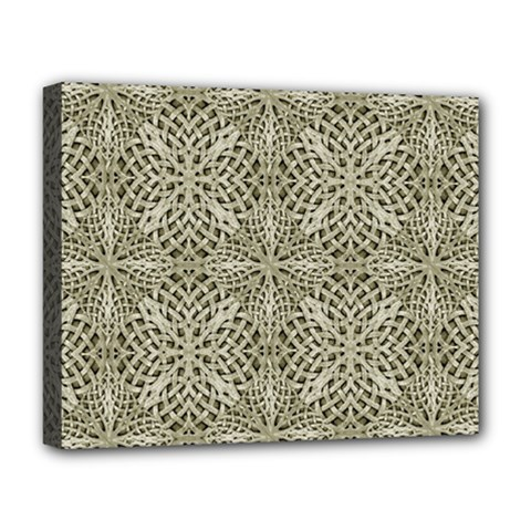 Silver Intricate Arabesque Pattern Deluxe Canvas 20  X 16  (framed) by dflcprints