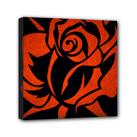 Red Rose Etching On Black Mini Canvas 6  X 6  (framed) by StuffOrSomething