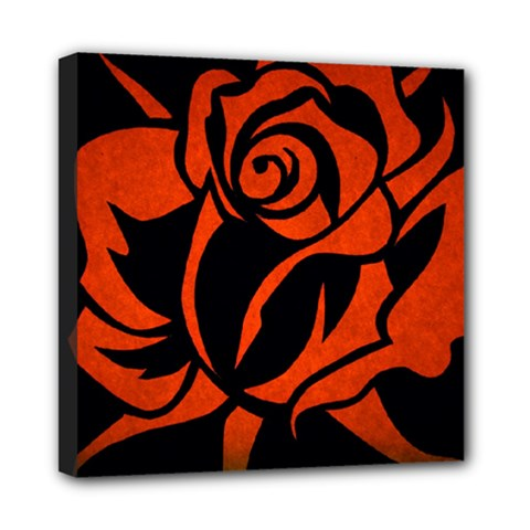 Red Rose Etching On Black Mini Canvas 8  X 8  (framed) by StuffOrSomething