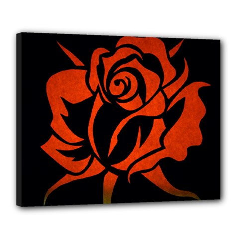 Red Rose Etching On Black Canvas 20  X 16  (framed) by StuffOrSomething
