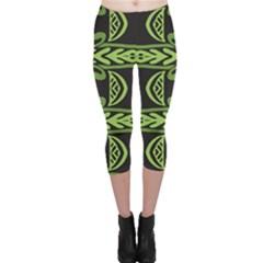 Green Shapes On A Black Background Pattern Capri Leggings