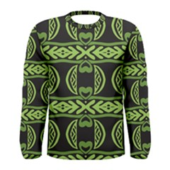 Green shapes on a black background pattern Men Long Sleeve T-shirt by LalyLauraFLM