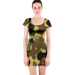 Camo Pattern  Short Sleeve Bodycon Dress by Colorfulart23